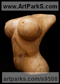 Carved wood karagach (elm tree species) Torsos Sculptures or Chests of Men and Women Females Girls Children Statues statuery statuettes sculpture by Alexey Bykov titled: 'Nature Venus (Carved Wood Big Breast Torso statuette)'