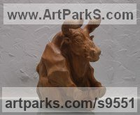 Carved elm wood Carved Wood sculpture by Alexey Bykov titled: 'Relaxation (Relaxing Bull Wooden Animal sculpture)'