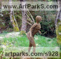 Willow, Bark and moss sculpture / statue / statuette by sculptor artist Alicia Castrillo titled: 'Winged Willow Sprite (garden/Yard Fairy Nymph statue)' in Steel and willow