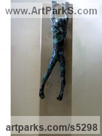Bronze on ancaster Children Child Babies Infants Toddlers Kids Sculptures Statues statuettes figurines sculpture by Alison Bell titled: 'Dreeping (Child Climbing/Hanging on Wall statuettes)'