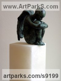 Bronze on 12 inch alabaster column Angel sculpture by Alison Bell titled: 'Lost in Thought (Sitting Thinking Little Angel statue)'
