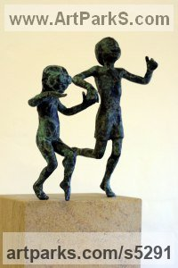 Bronze on ancaster Sculpture of Children by Alison Bell titled: 'Splash (Little Small bronze Children Playing sculptures/Figurines statue)'