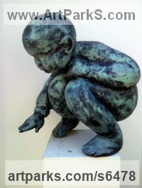 Bronze Sculpture of Children by Alison Bell titled: 'Wee Giant (bronze Baby Squatting Sitting garden Yard statue sculpture)'