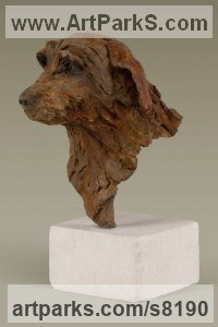 Cold cast Iron Animals in General Sculptures Statues sculpture by Alison Murray Wells titled: 'Blossom - Norfolk Terrier'