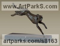 Bronze Animals in General Sculptures Statues sculpture by Alison Murray Wells titled: 'Cheetah (Leaping Prancing Jumping Running Small Bronze statue statuette)'