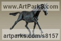 Bronze Horses Small, for Indoors and Inside Display Statues statuettes Sculptures figurines commissions commemoratives sculpture by Alison Murray Wells titled: 'Horse in Flight (Running Trotting Skittering Horse small bronze statue)'