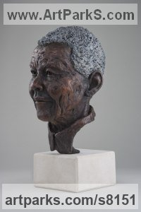 Bronze Famous People Sculptures Statues sculpture by Alison Murray Wells titled: 'Nelson Mandela (Bronze Head Bust of South African President statue)'