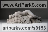 Bronze Stylised Nude statue sculpture statuette ornament sculpture by Alison Murray Wells titled: 'nude (Girl Lying Sleeping Resting Dreaming statue sculpture statuette)'