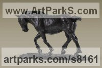 Bronze Horses Small, for Indoors and Inside Display Statues statuettes Sculptures figurines commissions commemoratives sculpture by Alison Murray Wells titled: 'Shire Horse (Small Dray Cart Plough Heavy Work Horse statuette statue)'