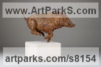 Cold cast Iron or Bronze Animals in General Sculptures Statues sculpture by Alison Murray Wells titled: 'Wild Boar (Small Running Bronze Fleeing statue statuette ornament)'