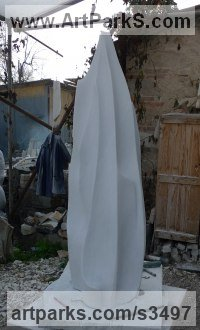 Carrara Bianco Marble Abstract Contemporary Modern Outdoor Outside Garden / Yard Sculptures Statues statuary sculpture by Almuth Tebbenhoff titled: 'Firefall (Tall abstract Minimalist Yard statue)'