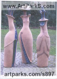 Clay with mosaic inlay adornments Abstract Modern Contemporary Avant Garde sculpture statuettes figurines statuary both Indoor Or outside sculpture by sculptor Althea Wynne titled: 'Ladies who Lunch'