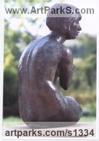 Bronze Females Women Girls Ladies sculpture statuettes figurines sculpture by sculptor Althea Wynne titled: 'Penelope Waiting (Bronze Seated nude Girl garden statue/sculpture)'