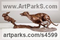 Bronze Dogs sculpture by Amy Goodman titled: 'Lurcher and Hare (Little bronze Chase sculpture/statuette/figurine)'