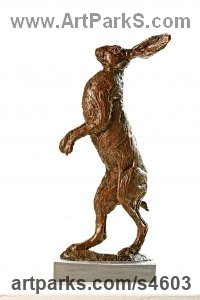 Bronze Hares and Rabbits sculpture by Amy Goodman titled: 'Standing Hare (Little Mad March Hare Standing statue)'