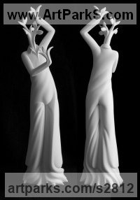 White ceramic bisque Stylized People sculpture by sculptor Andrea Bucci titled: 'Green feelings (Half Plant and Woman Modern statue)'