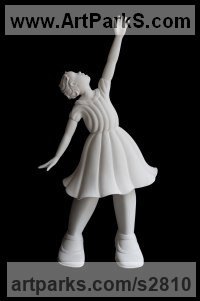White ceramic bisque Children Child Babies Infants Toddlers Kids sculpture statuettes figurines sculpture by sculptor Andrea Bucci titled: 'Little Sofia (Small ceramic Modern Little Girl statue)'