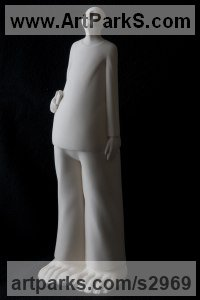White ceramic bisque Interior, Indoors, Inside sculpture by Andrea Bucci titled: 'The Ego (ceramic Standing Star Gazing Man statue statuette sculptures)'
