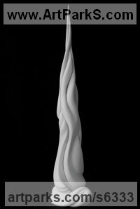 White ceramic bisque Allegorical / Parable sculpture by sculptor Andrea Bucci titled: 'The river of life (ceramic Minimalist Pinnacle White Vertical statuette)'