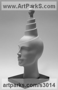 White ceramic bisque Figurative Abstract Modern or Contemporary Sculptures Statues statuary statuettes figurines sculpture by Andrea Bucci titled: 'Supermind (white Interior ceramic Heads Bust sculpture statue)'