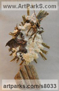 Bronze & Mixed Media Angel sculpture by Andrei Kaporin titled: 'Between Heaven and Earth (Angel and Dragon statue)'