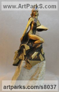 Sculptures of females by Andrei Kaporin titled: 'Creation (bronze nude Naked Goddess of Life sculpture statue statuette)'