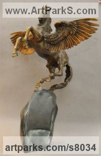 Centaurs Pegasus Unicorns and Seahorses sculpture by Andrei Kaporin titled: 'Source of the Muses (Pegasus Winged Horse statuette)'