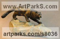 Cats sculpture by Andrei Kaporin titled: 'Thirst (Prowlimg Hunting Wild Cat sculpture statue)'