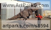 Recycled Metal Extinct Animals sculpture by Andrew Minevski titled: 'T-Rex (Large Prehistoric Monster garden or Park statue)'