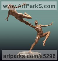 Bronze Nude or Naked Couples or Lovers sculpture by Andrew Benyei titled: 'Leap of Faith (Dancer nude Man and Woman sculpture statuette)'