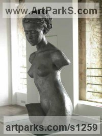 Aluminum laminate Nudes, Female sculpture by Andrew MacCallum titled: 'Grey Lady (nude Girl Woman female Torso/statue)'