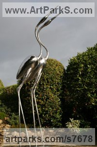 Forged Stainless Steel Love / Affection sculpture by Andy Hopper titled: 'Infinitum (stainless Steel Herons Waders sculptures)'