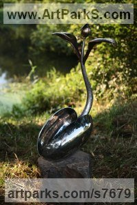 Forged Stainless Steel and Bronze Organic / Abstract sculpture by Andy Hopper titled: 'Song to The Creator. #2 (stainless Steel Plant statue)'