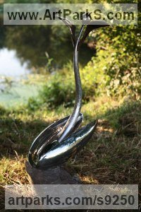 Forged Stainless Steel and Bronze Surrealist sculpture by Andy Hopper titled: 'Song to The Creator. #3 (abstract stainless steel Plant statue)'