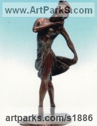 Dance Sculpture and Ballet Sculpture by sculptor artist Angela Bishop titled: 'Ballet Dancer (bronze Girl/female sculpture statuette figurine statue)' in Bronze