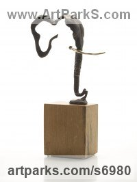 Bronze Elephants (Pachederms) Sculptures, African, Indian, Sumatran sculpture by Ani Mollereau titled: 'Elephant (abstract Modern Minimalist Small statuette)'