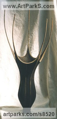 Modelled, bronze cast Organic / Abstract sculpture by Anja Roemer titled: 'Chalice (abstract Outsize Flower Indoor Bronze statue)'