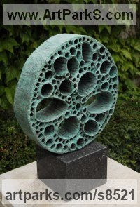 Modelled, bronze cast Varietal cross section of Floral, Fruit and Plantlife sculpture by Anja Roemer titled: 'Radix (Outsize Circular Cross Section Stem sculpture)'