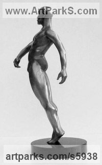 Lost Wax Bronze Nudes / Male sculpture by sculptor Ann Seifert titled: 'A Proud Moment (Little Bronze Male nude Standing statuettes/figurines)'