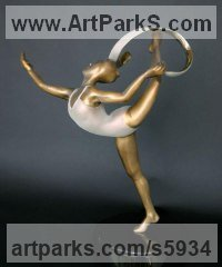 Lost Wax Bronze Dance Sculptures and Ballet sculpture by sculptor Ann Seifert titled: 'An Elegant Moment (Little Bronze Ribbon Dancer Desk Top statuettes)'
