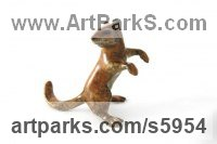 Lost Wax Bronze Rodents sculpture by Ann Seifert titled: 'Chipmunk (Bronze Inquisitive Small Animal Upright statues)'