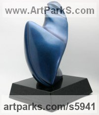 Lost Wax Bronze Indoor Inside Interior Abstract Contemporary Modern Sculpture / statue / statuette / figurine sculpture by Ann Seifert titled: 'Passages - abstract female Form (Little bronze stylized statues)'