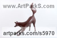Lost Wax Bronze Dogs Wild, Foxes, Wolves, Sculptures / Statues sculpture by Ann Seifert titled: 'Playful Fox (Small bronze Playing Indoor sculptures)'