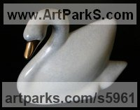 Lost Wax Bronze Wild Bird sculpture by sculptor Ann Seifert titled: 'Swan sculpture (Small Stylized Bronze swimming White statues)'