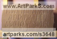 Red Sandstone Wall Mounted or Wall Hanging sculpture by Anna Louise Parker titled: '215000000 Years (Carved Lettering Panel statue)'