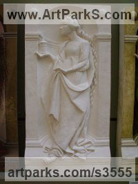 Plaster Bas Reliefs or Low Reliefs sculpture by Anna Louise Parker titled: 'Saint Mary Magdelene (High/Haut Relief statue)'