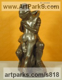 Military, Soldiers, Sailors, Marines Airmen and Military Equipment by sculptor artist Anna Mariani-Mauger titled: 'Sir Lancelot (Knight in Armour and nude Girl Lover bronze sculpture)' in Bronze