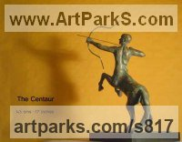 Bronze Centaurs Pegasus Unicorns and Seahorses sculpture by Anna Mariani-Mauger titled: 'The Centaur - Aiming High (Bronze Desk Top Indoors statuettes/statues)'