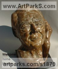 Bronze Portrait Sculptures / Commission or Bespoke or Customised sculpture by sculptor Anna Mariani-Mauger titled: 'Welcome Home Gabriel (Bronze Portrait Commission Bust statues)'