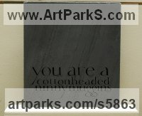 Slate Carved and Engraved Lettering Writing Inscriptions Poems Quotations Carving Panels sculpture by sculptor Anna Rubincam titled: 'Quote from Elf (Carved Slate Fun Quote Letter Writing Tableau statue)'